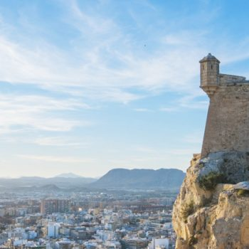 Valencia, Alicante Santa Barbara castle with panoramic aerial view at the famous touristic city in Costa Blanca, Spain